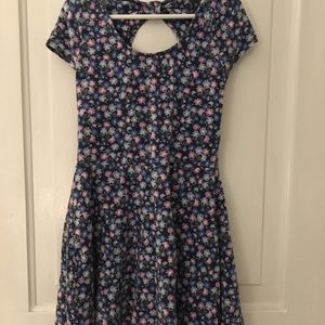 bright blue and pink floral dress